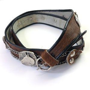 Vintage Western Belt Horse Womens Leather Brown